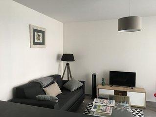 appartement T3, 5 couchages , neuf, terrasse , lumineux , 1er ét., centre ville