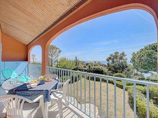 Vue paradisiaque appartement côte d'azur piscine clim wifi à 800m des plages