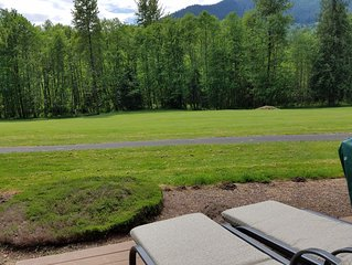 Looking out at the 9th fairway from your deck