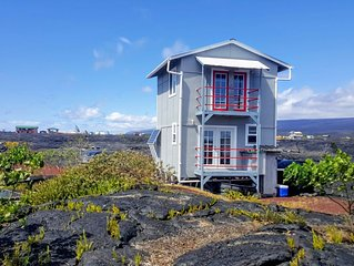 Ocean and Lava View from 400 sq ft Off Grid House- Amazing sunrises & Sunsets