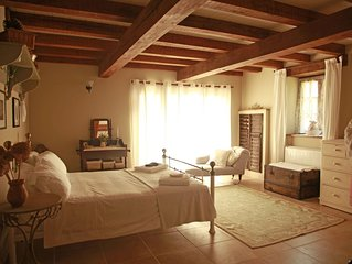 Stone barn offering luxurious accommodation a short drive from Monpazier.