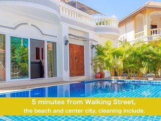 ⭐⭐⭐⭐⭐Villa 6 chambres avec piscine privée 5 minutes Walking Street et plages