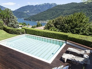 Luxury Design Villa and heated pool with  breath-taking views over Lake Lugano