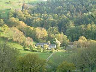 Secluded stone-built cottage  on farm in Mid -Wales, near beaches and mountains.