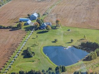 Beautifully appointed 1860 stone farmhouse on 100 acres of private property.