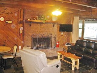 Comfy living area with fireplace, flat screen TV