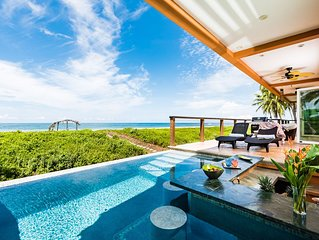 LUXURY BEACHFRONT Private 5 Bedroom Villa! SPECTACULAR VIEWS! INFINITY POOL BAR