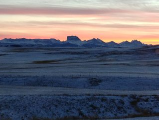 Enjoy the Breathtaking View of Chief Mountain, Sunsets and Rolling hills