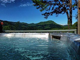 Relax in the Hot Springs spa overlooking the mountains.