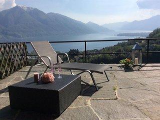 Sympathisches Ferienhaus mit grosser Terrasse, Panoramablick und Ganztagssonne
