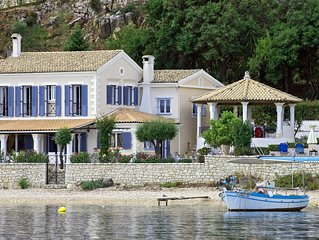 Beach front Villa 180-degree views, to the Kassiopi / harbour to the south
