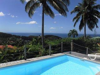 Villa vue sur mer des Caraïbes avec piscine, proche réserve Cousteau