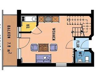 Dreizimmerappartement (73qm auf zwei Ebenen) mit liebevoller Einrichtung