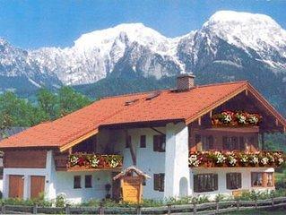 Ferienwohnung Alpenveilchen,1-2 Personen, 42 qm, Terrasse mit Berglick
