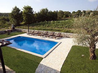 Traditional Istrian stone house with large pool