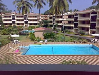 Furnished Apartment in Candolim Goa with Pool and Garden Views