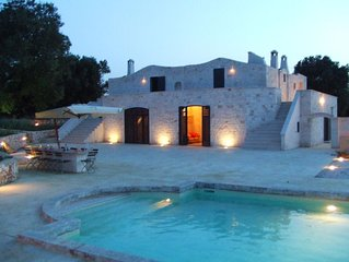 Luxury olive mill with heated pool, sea views within walking distance of Ostuni