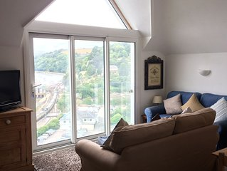 Elevated apartment  with Superb Views up the beautiful River Dart. Sleeps 6