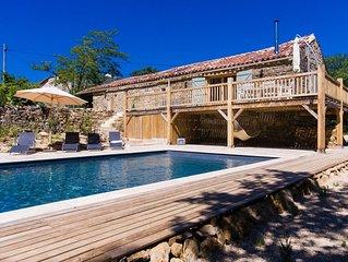 Stunning barn, south-facing views, exclusive pool, near Saint Antonin Noble Val