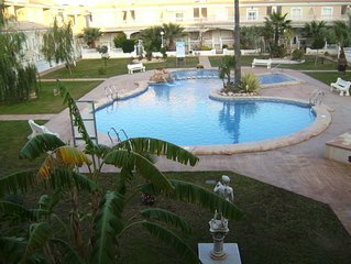 Large, pool facing air conditioned 3 bed apartment. Car not needed