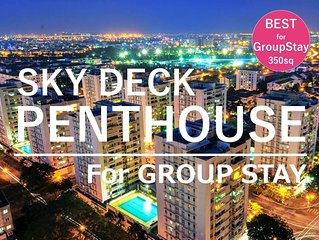 The Penthouse is the best choice for group. Huge capacity & private sky terrace