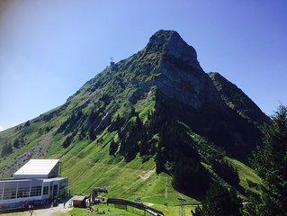 Appartement avec vue sur les montagnes, proche du village touristique de Gruyere
