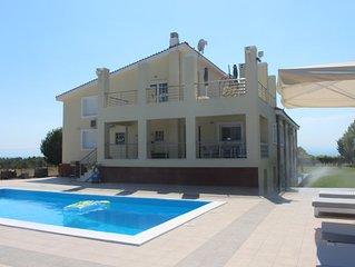 Exklusives Haus + Swimmingpool, 650 m zum Meer mit Blick auf die Ägäis + den Oly