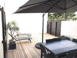 VILLA tout confort à 2 pas de la plage - terrasse 50m2 exposition plein sud