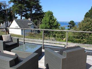 Maison récente,  accès direct plage du Tréno, vue golfe
