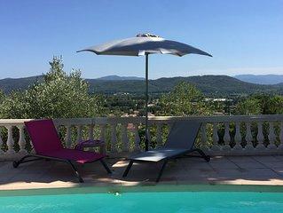 PROMO Sept-OCT Villa *** avec Clim, Superbe Panorama, Piscine  chauffée.
