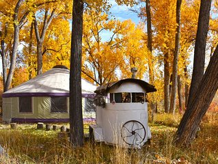 The Grove Yurt is a primitive living situation directly on the River
