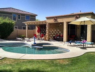 Great Palm Valley home with private heated pool/spa in quiet neighborhood
