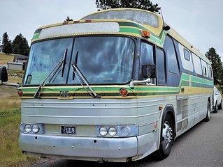 'Delores' is a Beautifully Converted Class A 1974 MT Charter Bus on Full Hookups