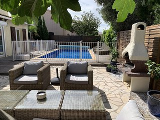Perfect family-friendly holiday home with heated pool and lots of outdoor space.