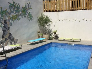 Stylish house with heated pool in centre of medieval Bize next to river swimming