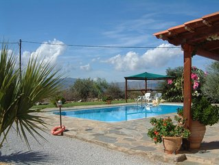 Spacious detached villa with private pool & panoramic views to sea and mountains