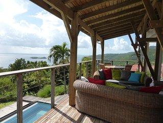 Villa avec piscine privee, vue exceptionnelle sur la mer et les ilets Pigeon