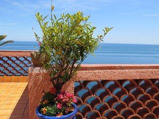 Maison****  avec vue exceptionnelle sur mer, au calme, wifi, clim, parking privé