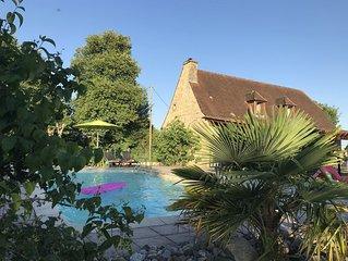 Maison de vacances avec piscine privee, terrasse, jardin et vue panoramique
