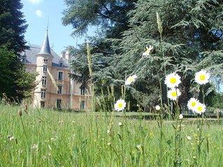 Chateau 22 couchages, tennis, piscine, parc de 5 ha entre Lyon et St. Etienne