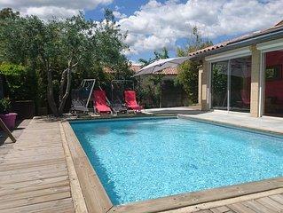 Nouveau ! Grande villa climatisée , 6 pers , avec piscine et jardin au calme