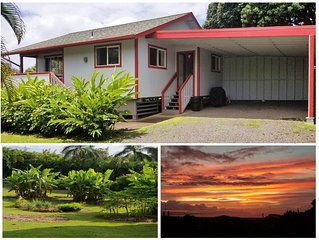 Cute cottage, Ocean Views, A/C, Quiet & Private. Near Road to Hana.