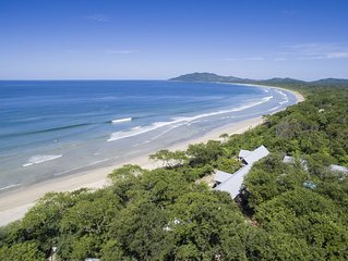 Five Cottages, Swimming Pool and Amenities Amidst a Beachfront Forest.