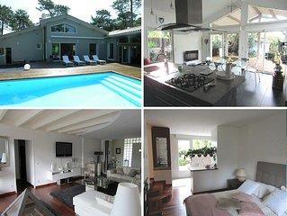 Villa de standing 4 chambres pour 10 personnes, piscine privée à Lacanau océan