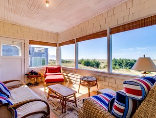 Beachfront, dog-friendly house with oceanview porch!
