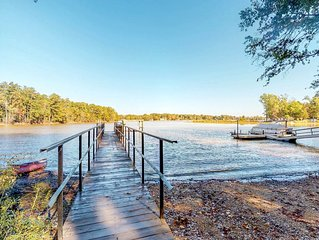 Lakefront dog-friendly home with dock, game room, and great views!