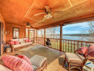Lakefront home with dock, horseshoe pit, BBQ, and firepit!