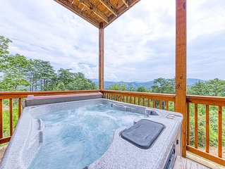 Mountainside cabin w/ hot tub, multiple decks, & pool table plus stunning views!
