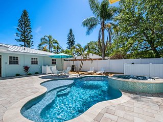 Outdoor Oasis, one block from the beach with a heated Salt Pool and Spa!
