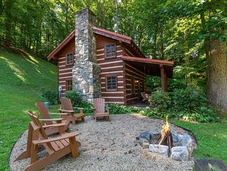 Rustic log home in private community - farm views & outdoor firepit!